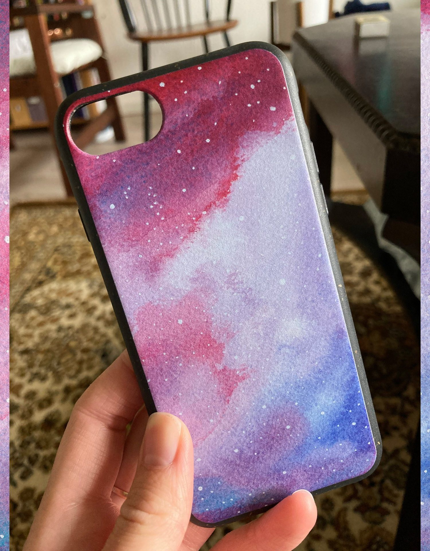biodegradable case for iPhone with galaxy design