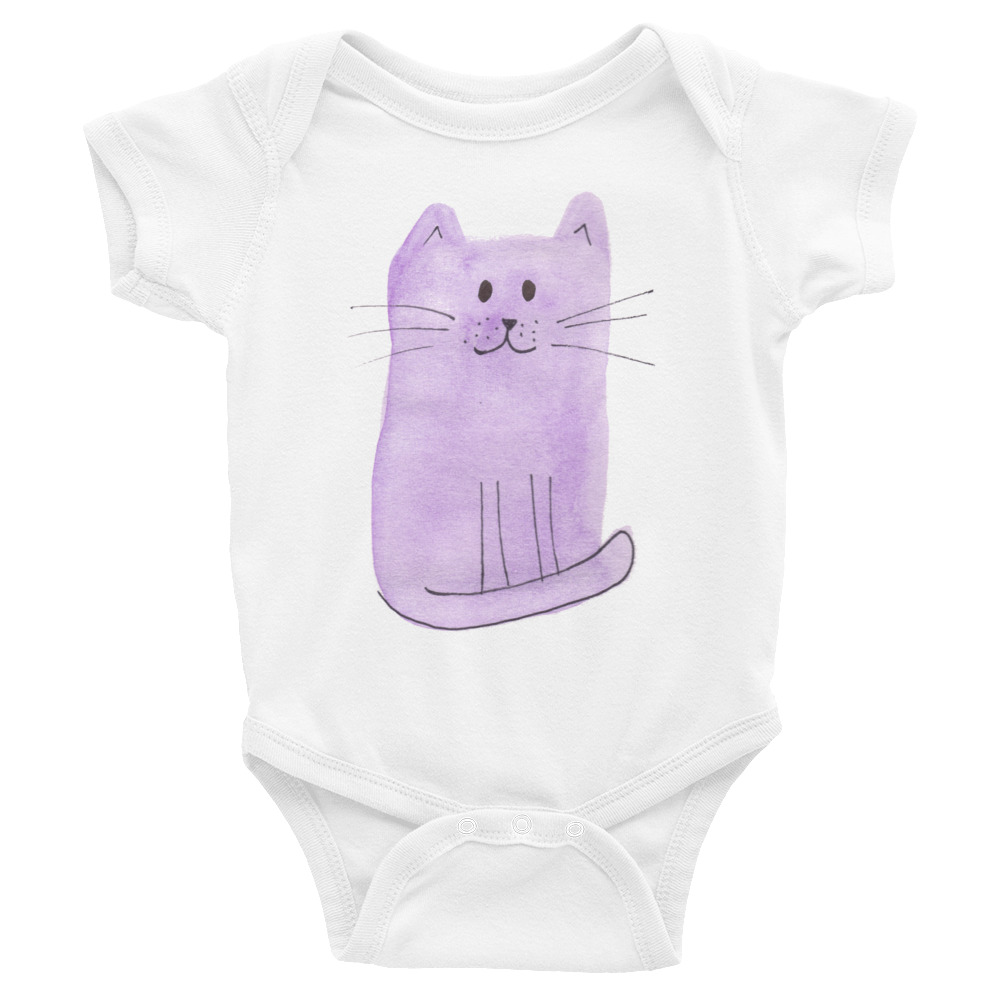 infant bodysuit with purple cat on the front