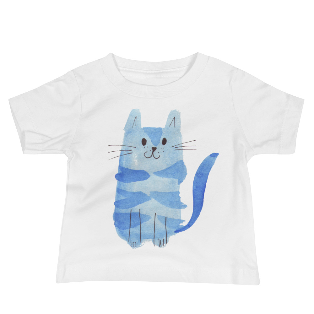 baby tee with blue cat on the front