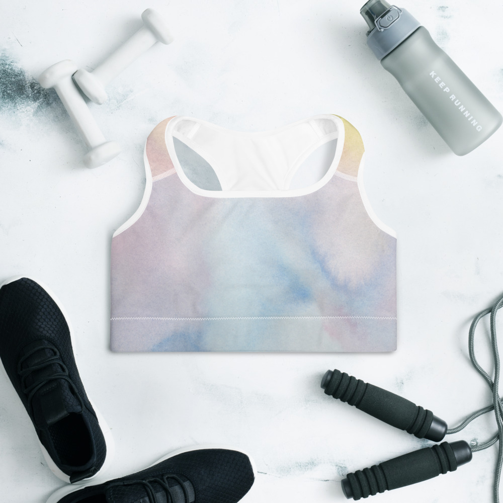 padded sports bra with pastel colour design