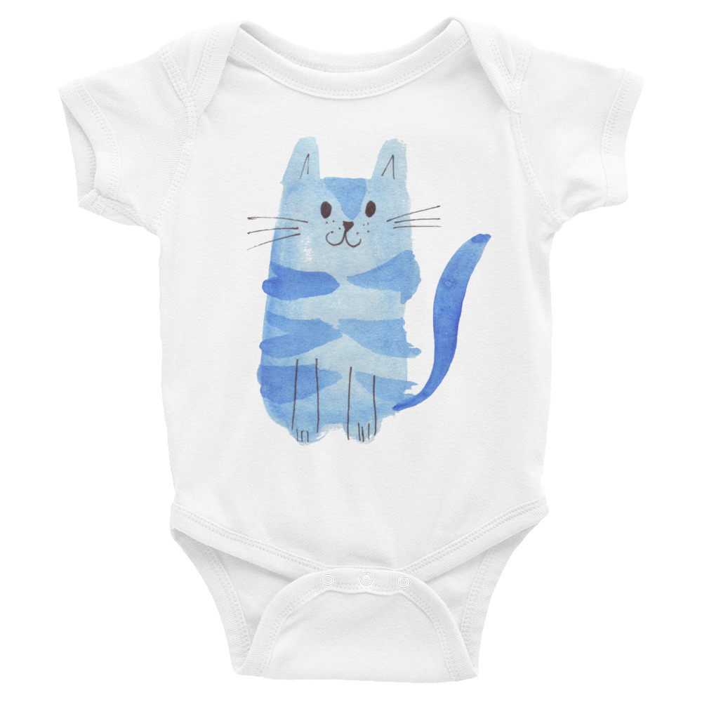 infant bodysuit with blue cat on the front