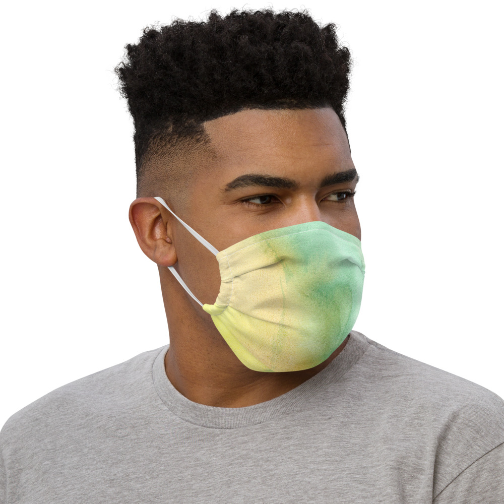 Green and yellow reusable face mask