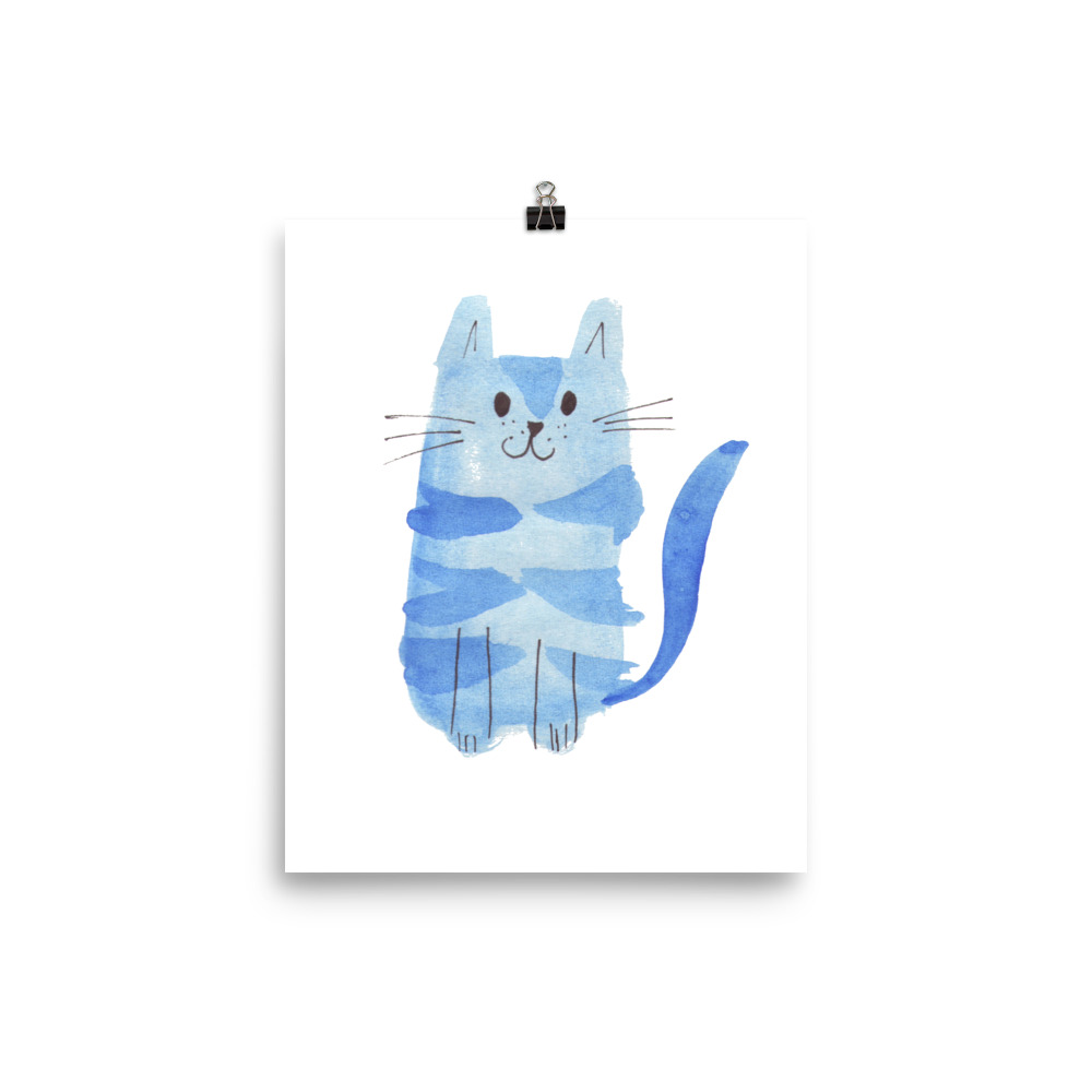 Cat Collection Blue Cat painted with watercolour