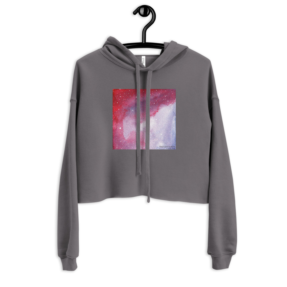 grey cropped hoodie with galaxy print on the front