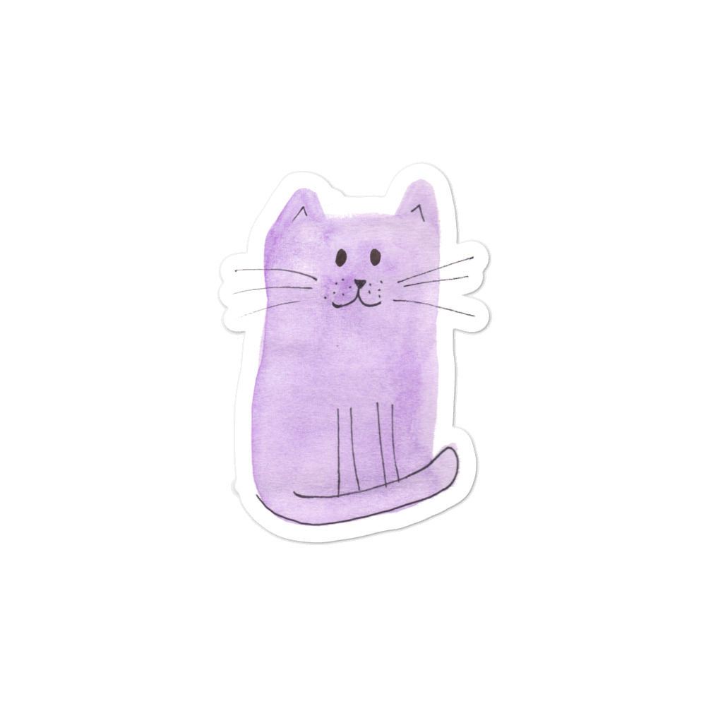 Vinyl sticker with purple cat originally painted with watercolour