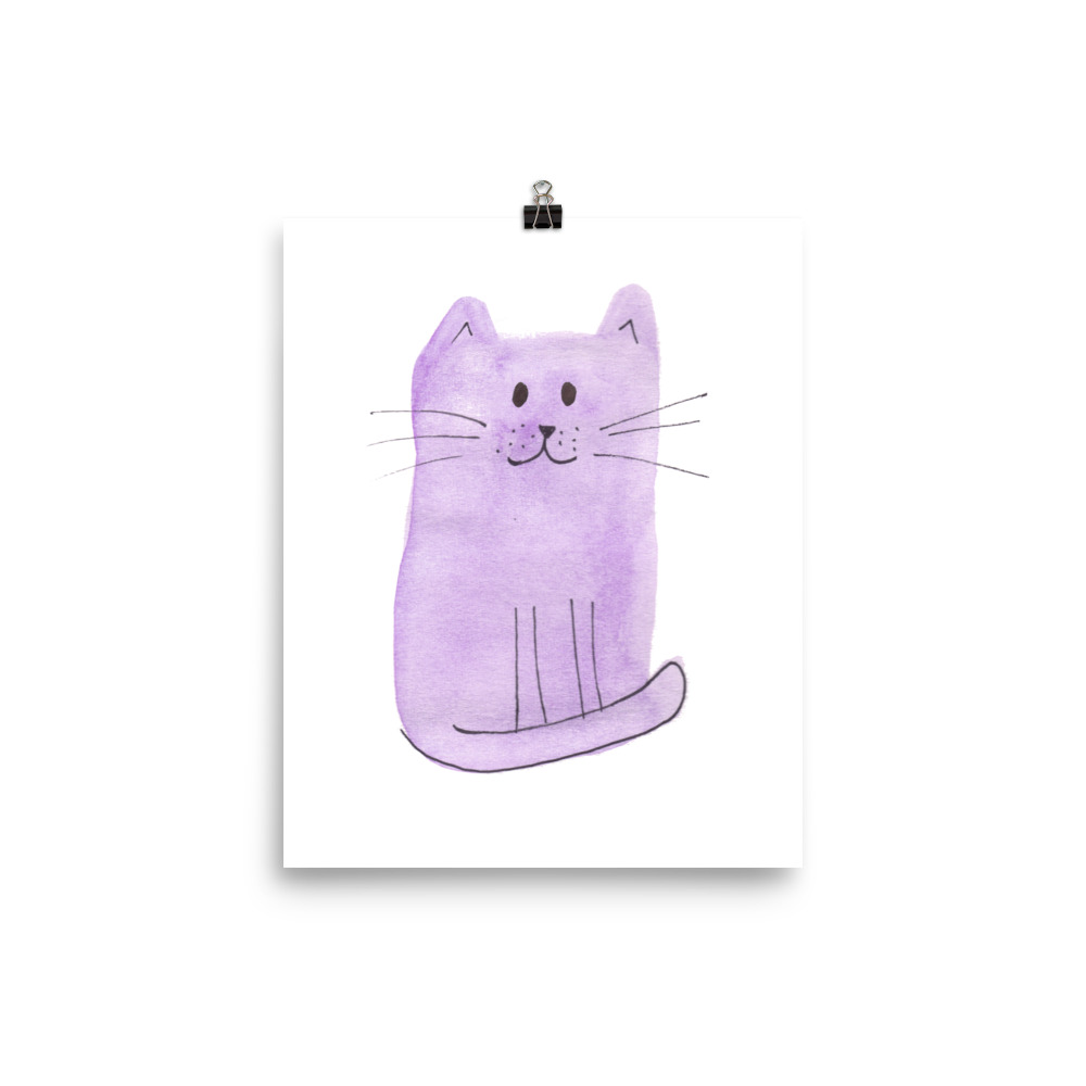 Cat Collection Purple Cat painted with watercolour