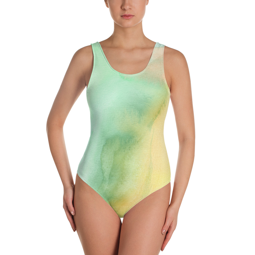 one-piece swimsuit in green and yellow pastel hues