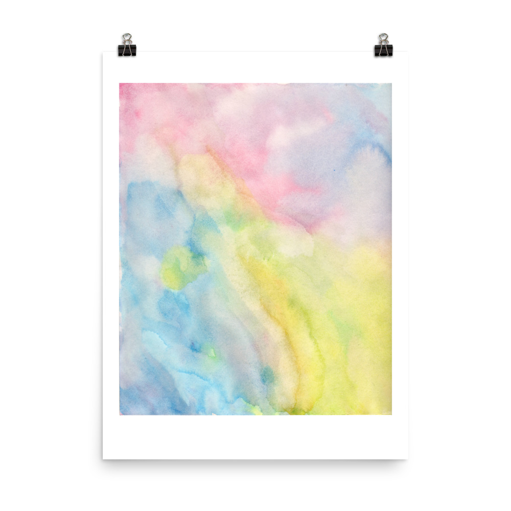 Splashes of pastel shades painted with watercolour