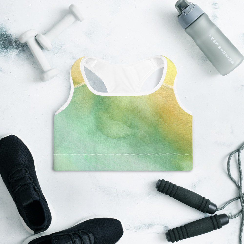 padded sports bra in green and yellow pastel shades print