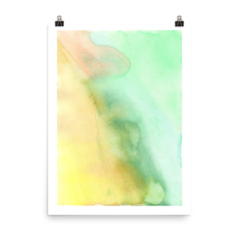 Green splashes of pastel shades art print painted with watercolour