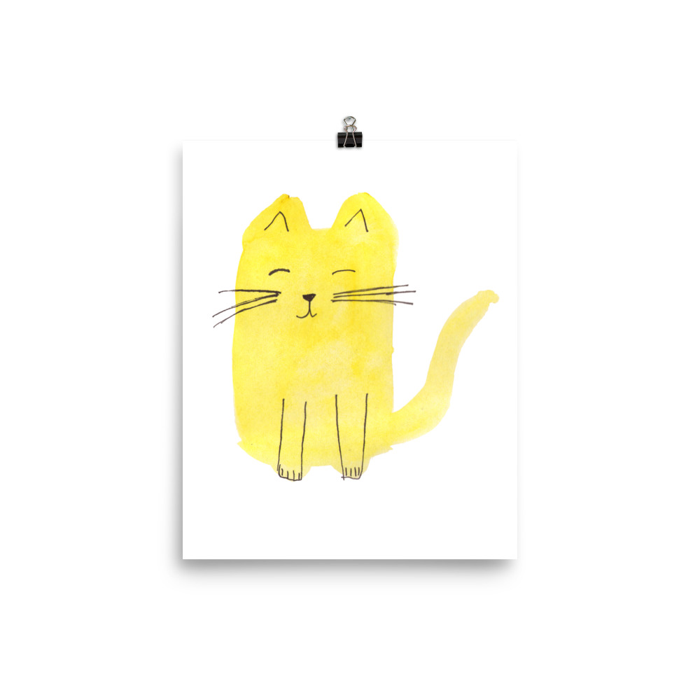 Cat Collection Yellow Cat painted with watercolour