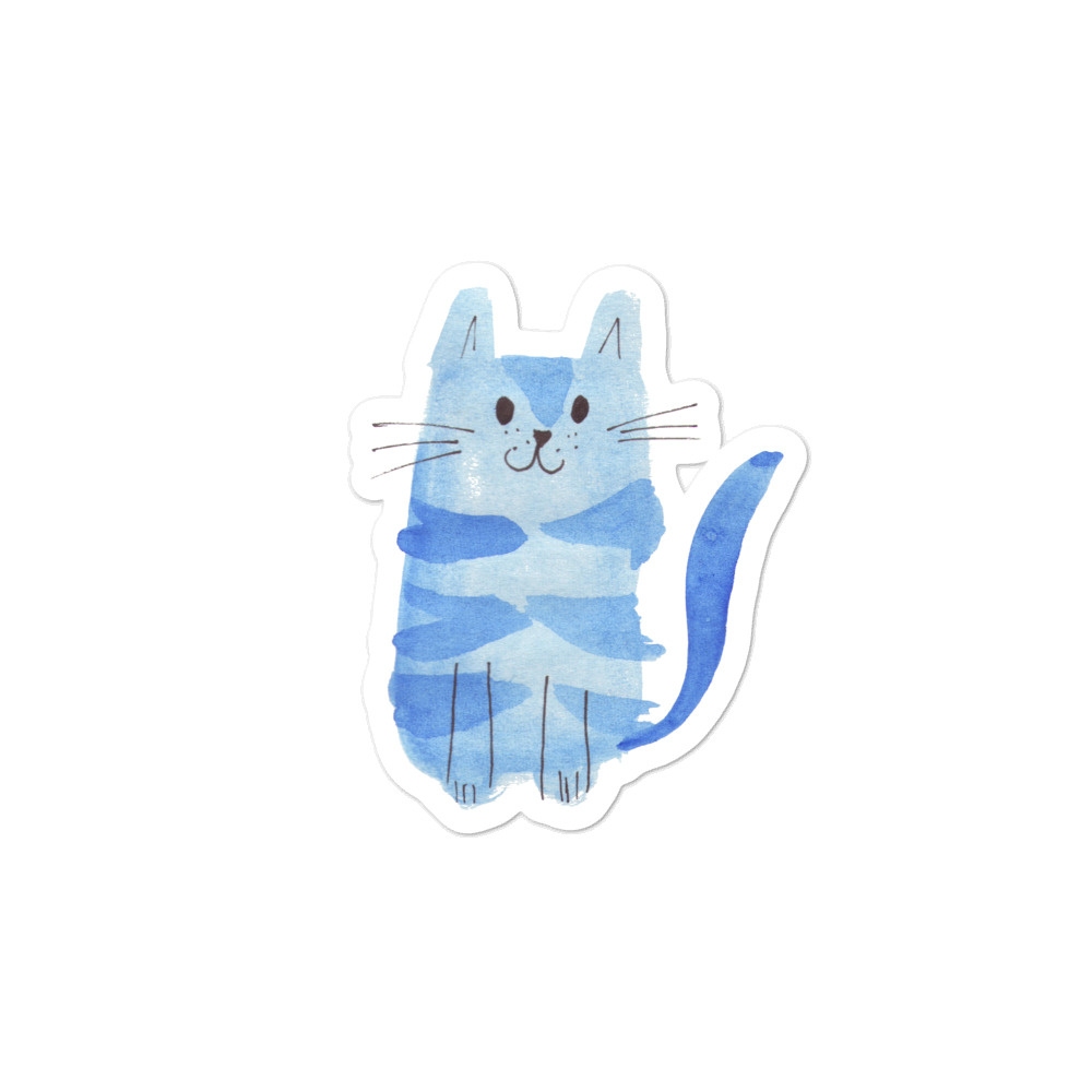 Vinyl sticker with blue cat originally painted with watercolour