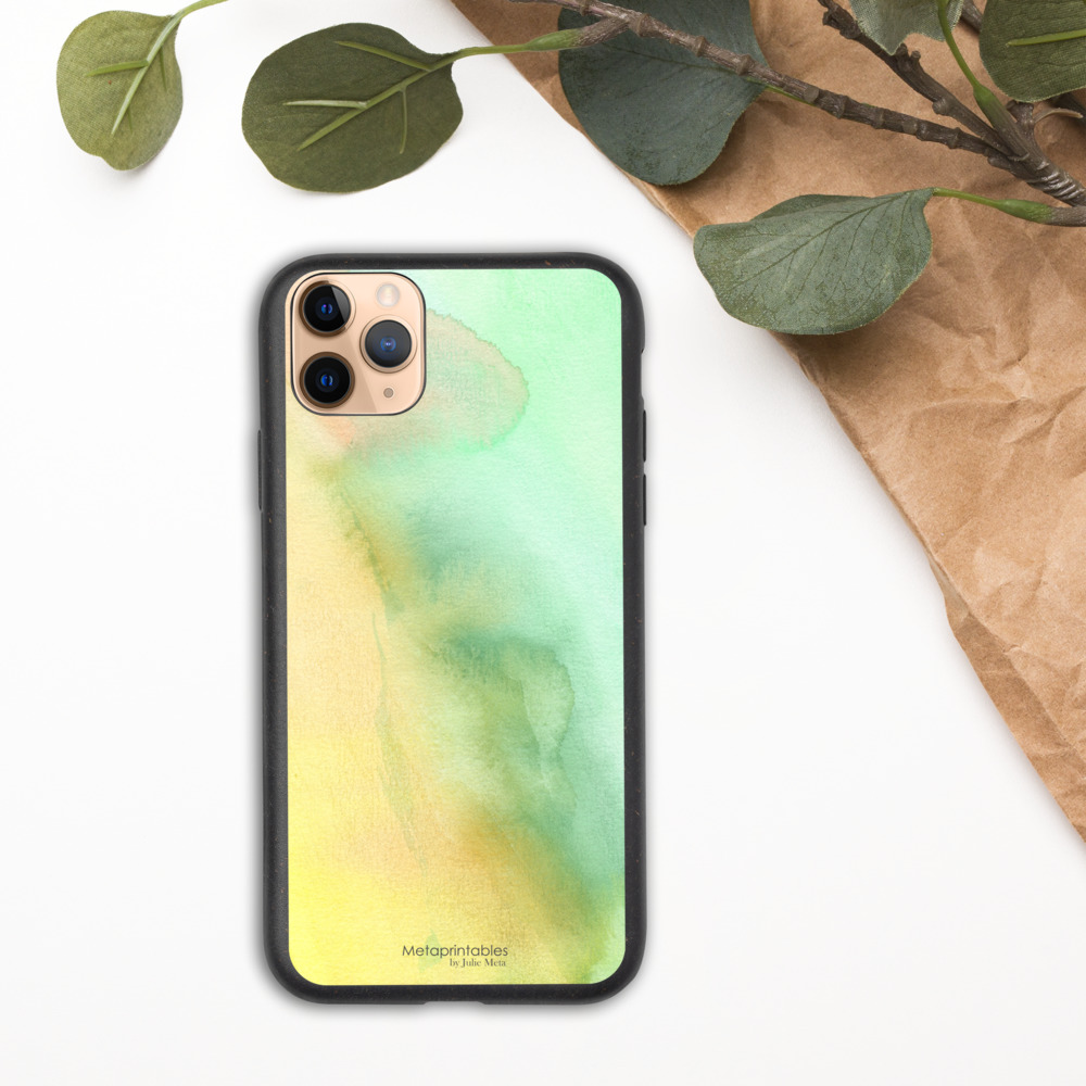 Biodegradable phone case for iPhone in green and yellow pastel shades
