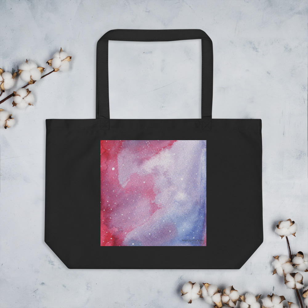 black eco tote bag with red galaxy print