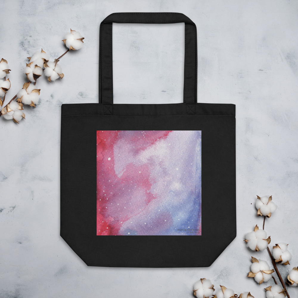 galaxy red eco tote bag in black