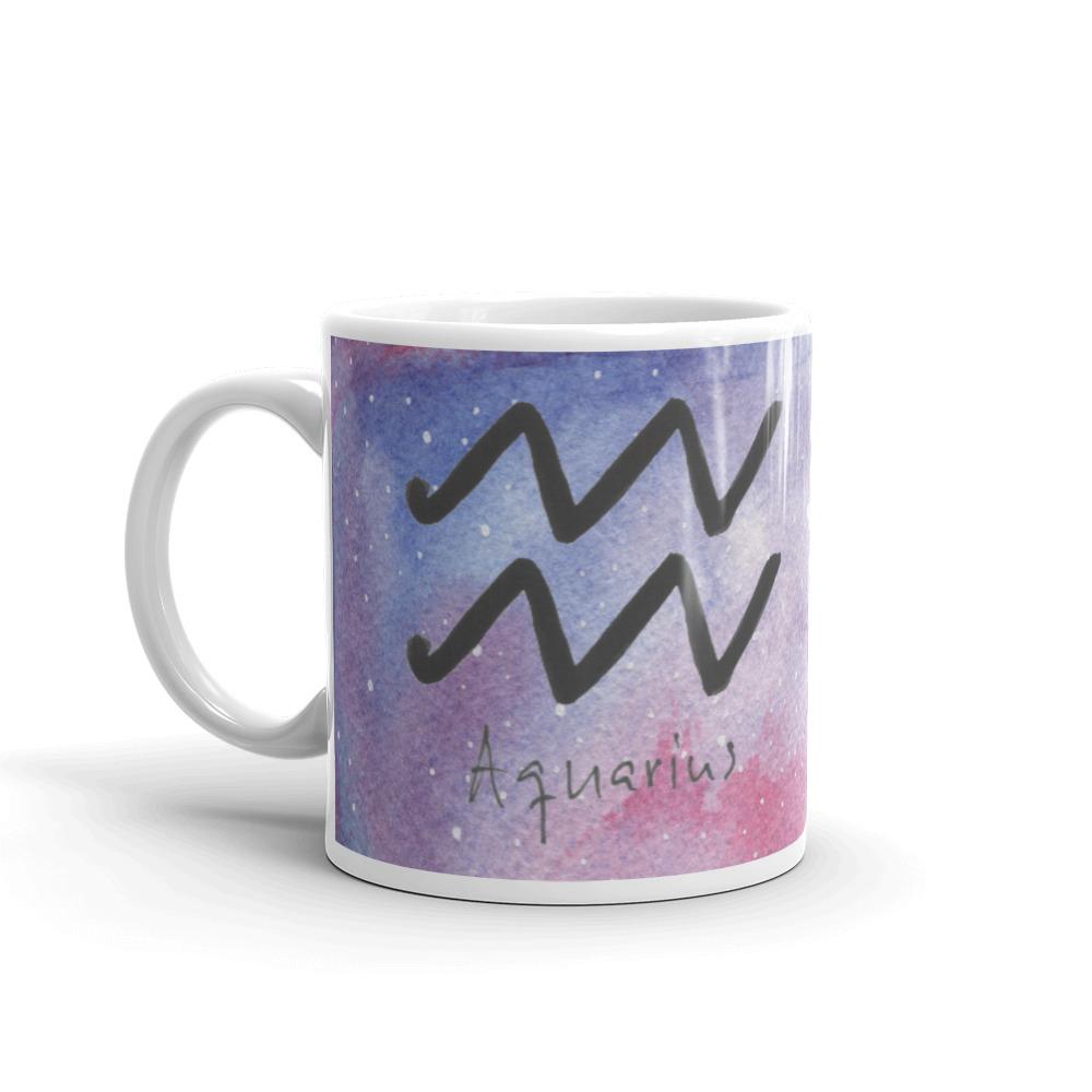 Galaxy mug with aquarius zodiac sign