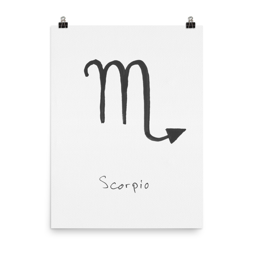 Zodiac Sign Collection scorpio art print painted with watercolour