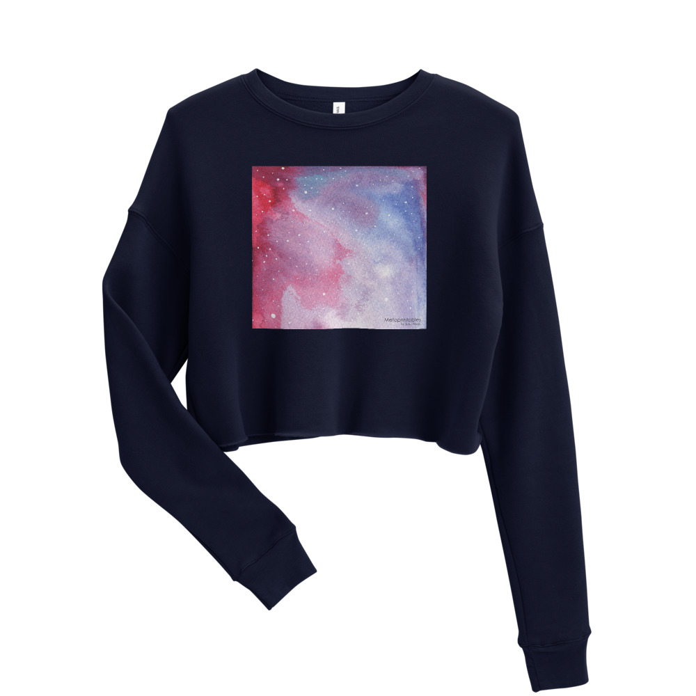 navy cropped sweatshirt with galaxy red design on the front