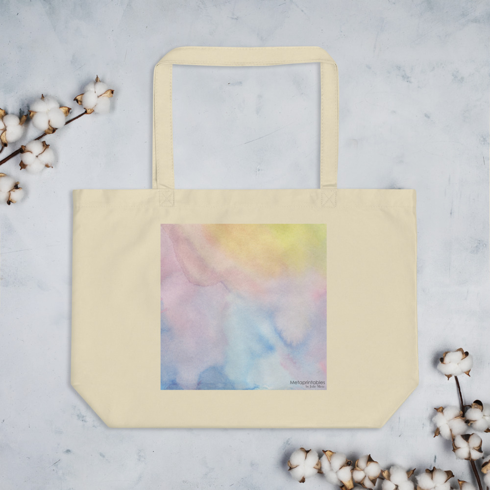 large eco tote bag with pastel shades print