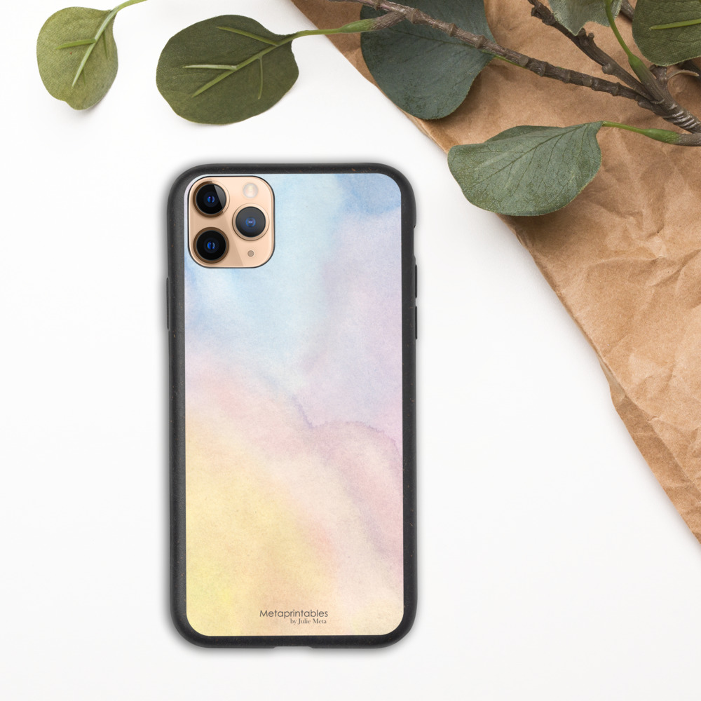 biodegradable phone case for iphone with pastel shades design