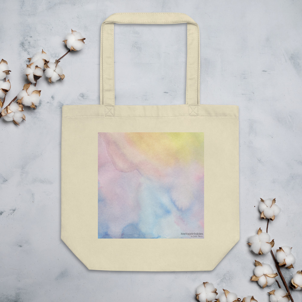 beige eco tote bag with colourful print in pastel shades