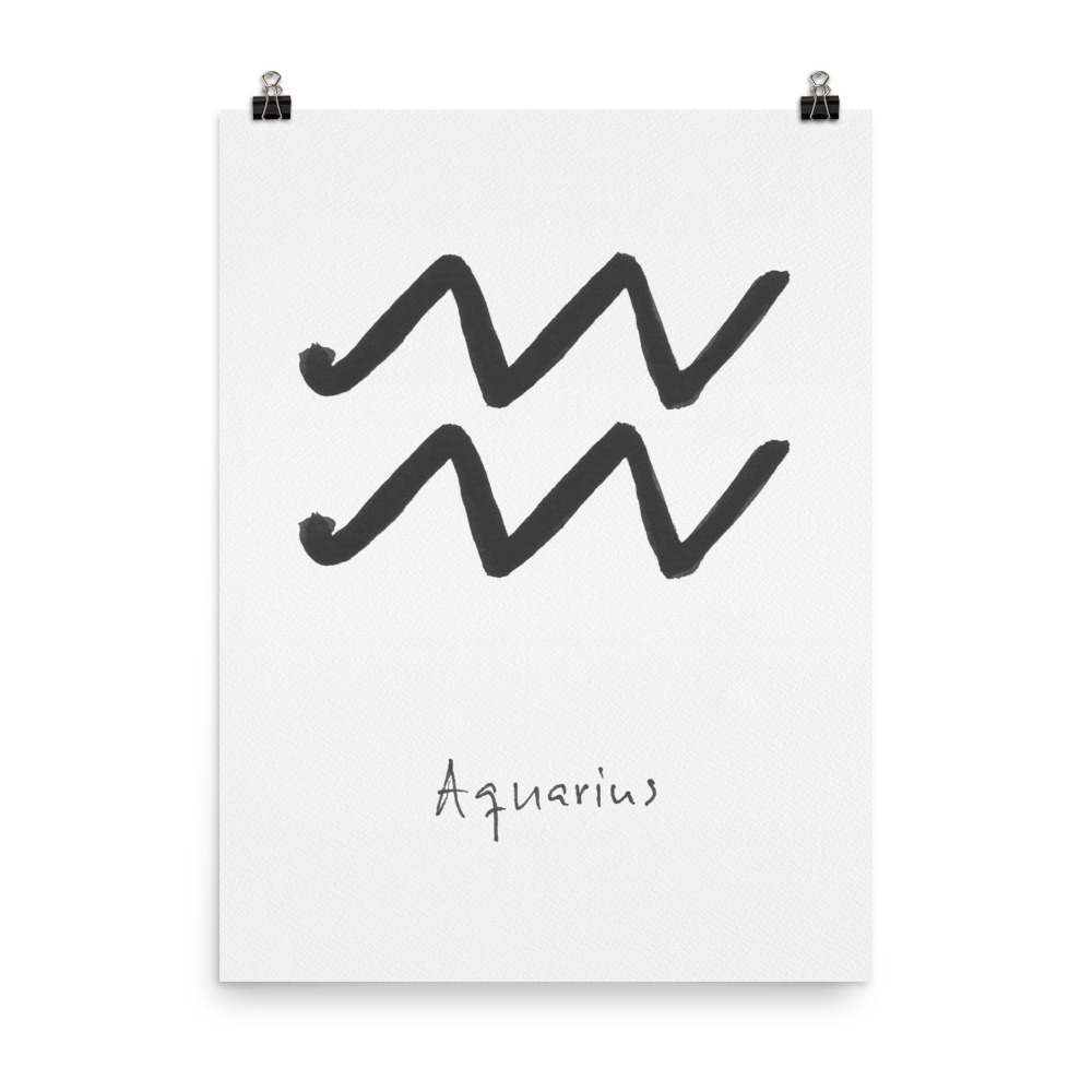Zodiac Sign Collection Aquarius art print painted with watercolour