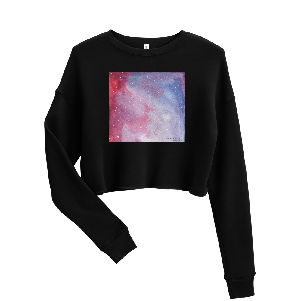 black cropped sweatshirt with galaxy red design on the front