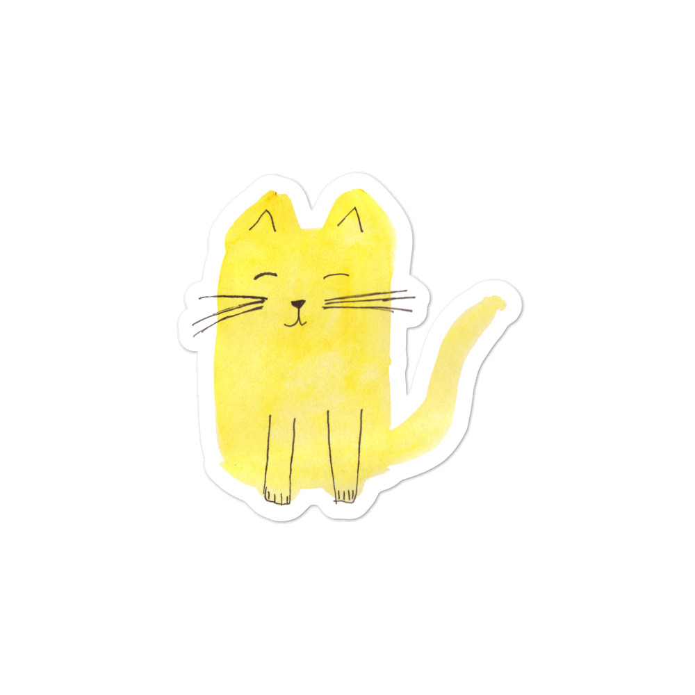 Vinyl sticker with yellow cat originally painted with watercolour