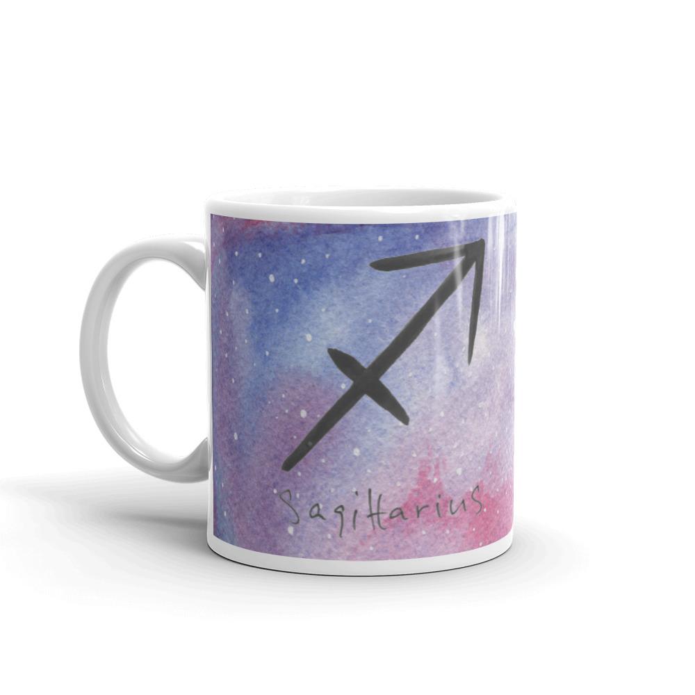 Galaxy mug with sagittarius zodiac sign