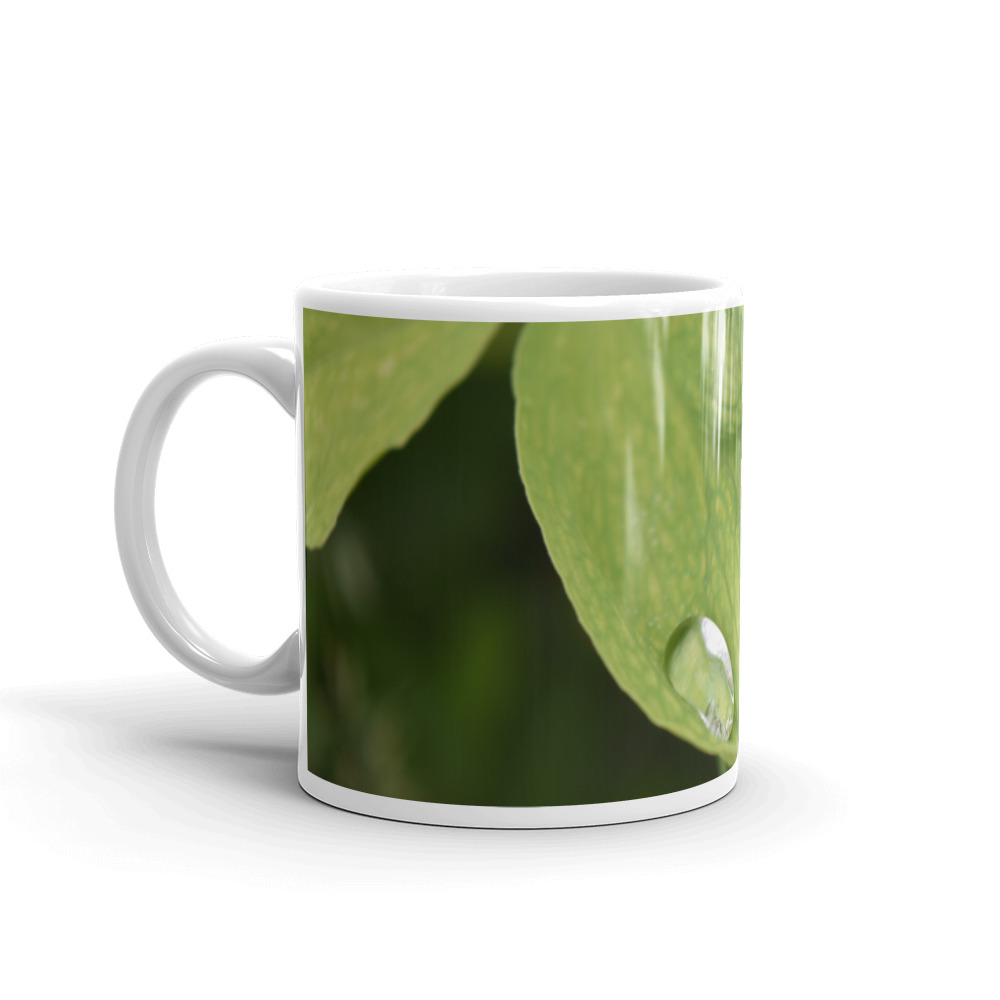 Mug with photo print of leaves and a raindrop