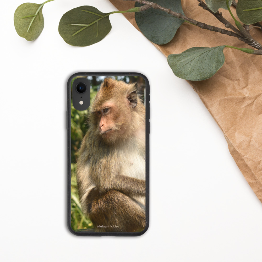 biodegradable case for iPhone with koh chang monkey print