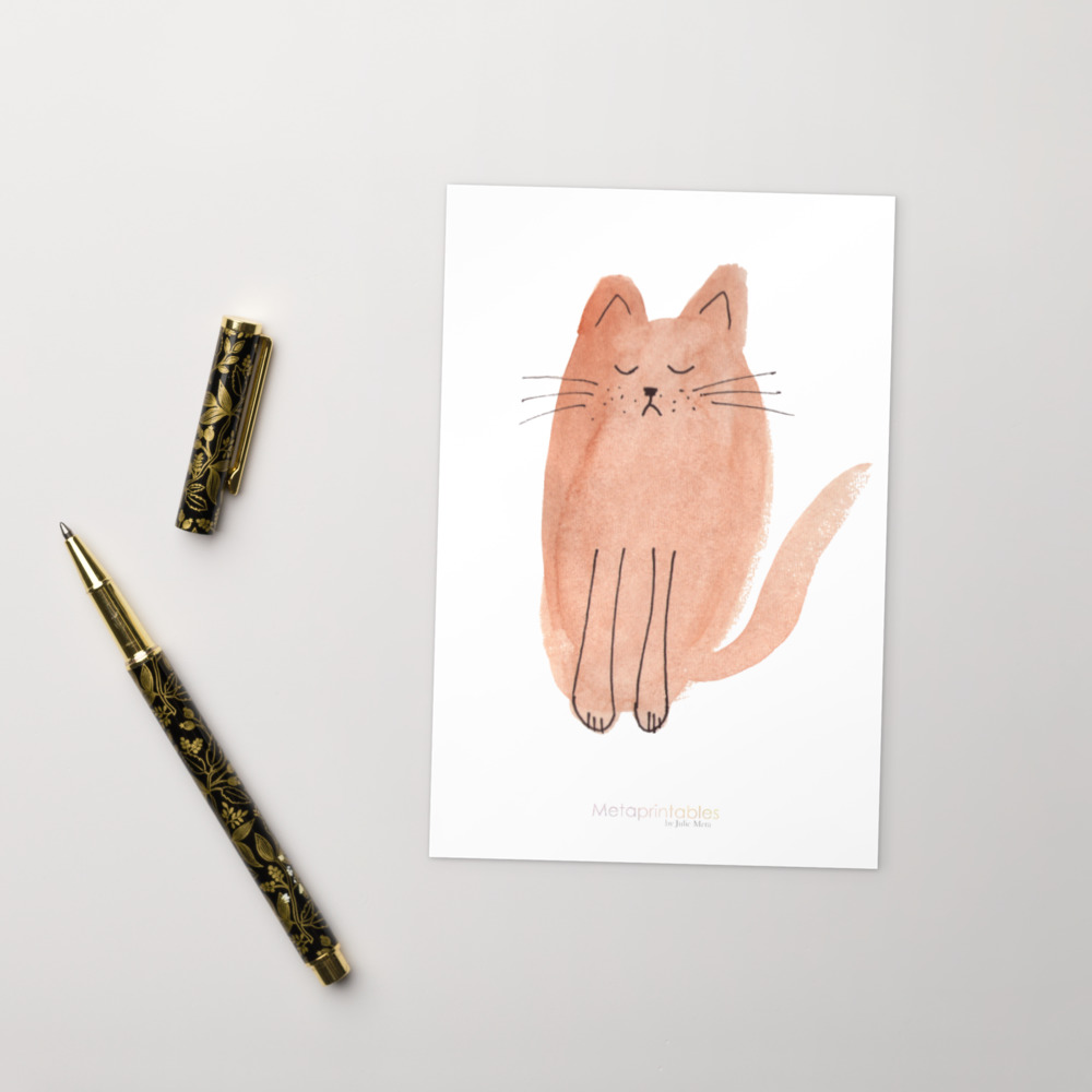 cute high quality postcard with brown cat and Metaprintables by Julie Meta logo