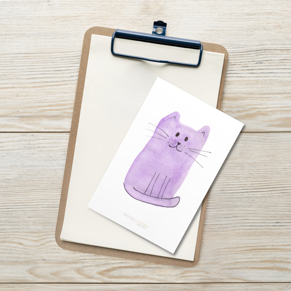 cute high quality postcard with purple cat and Metaprintables by Julie Meta logo