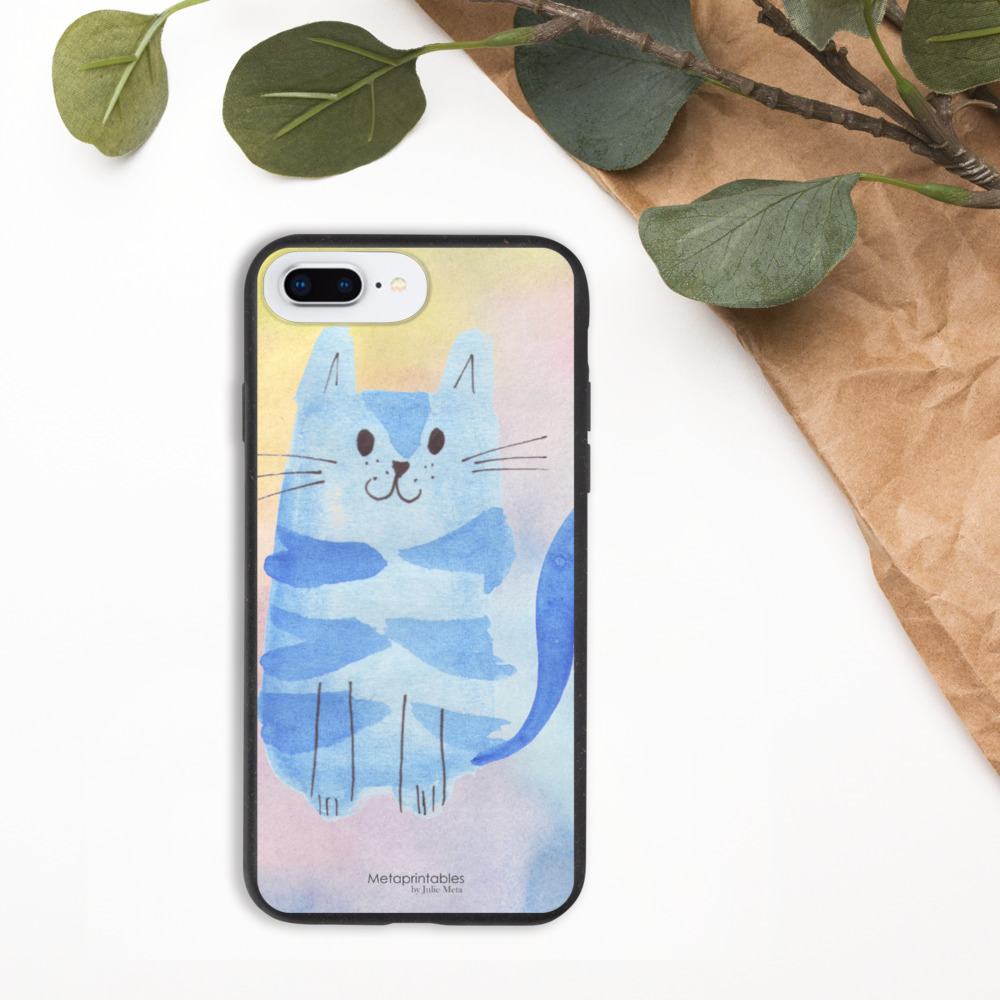 biodegradable phone case for iphone with blue cat cat