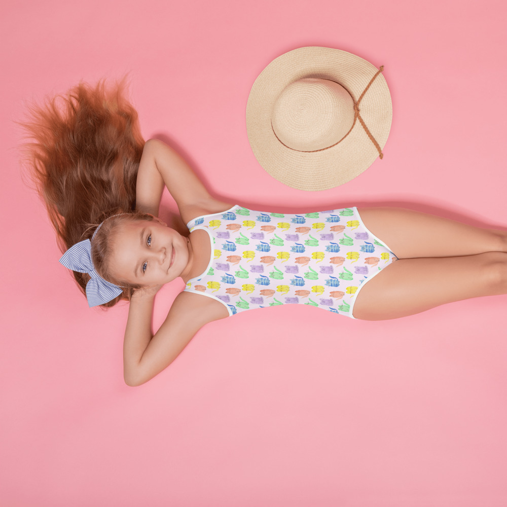 super cute swimsuit for girls with colourful cat print