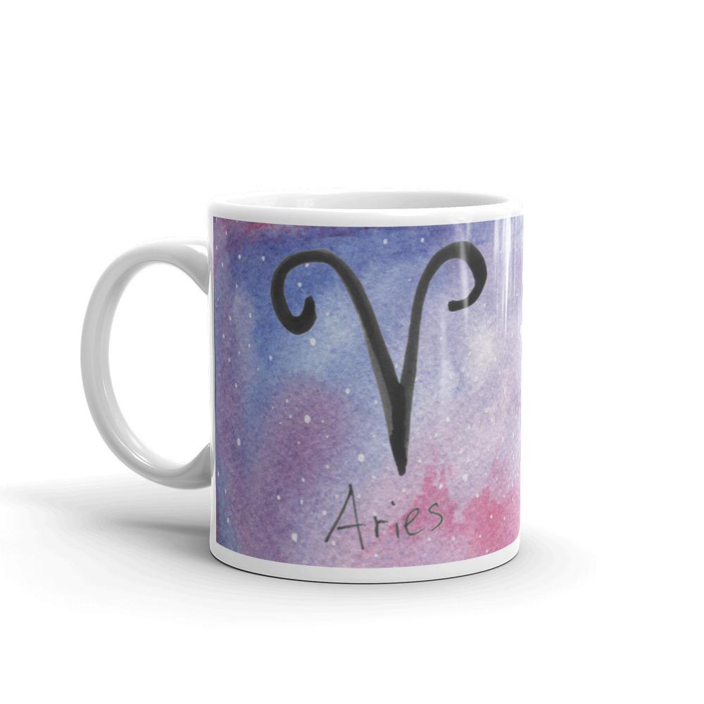Galaxy mug with aries zodiac sign