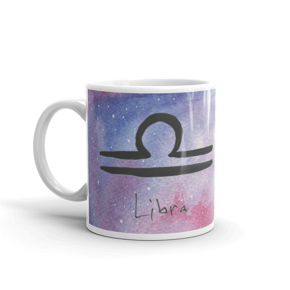 Galaxy mug with libra zodiac sign