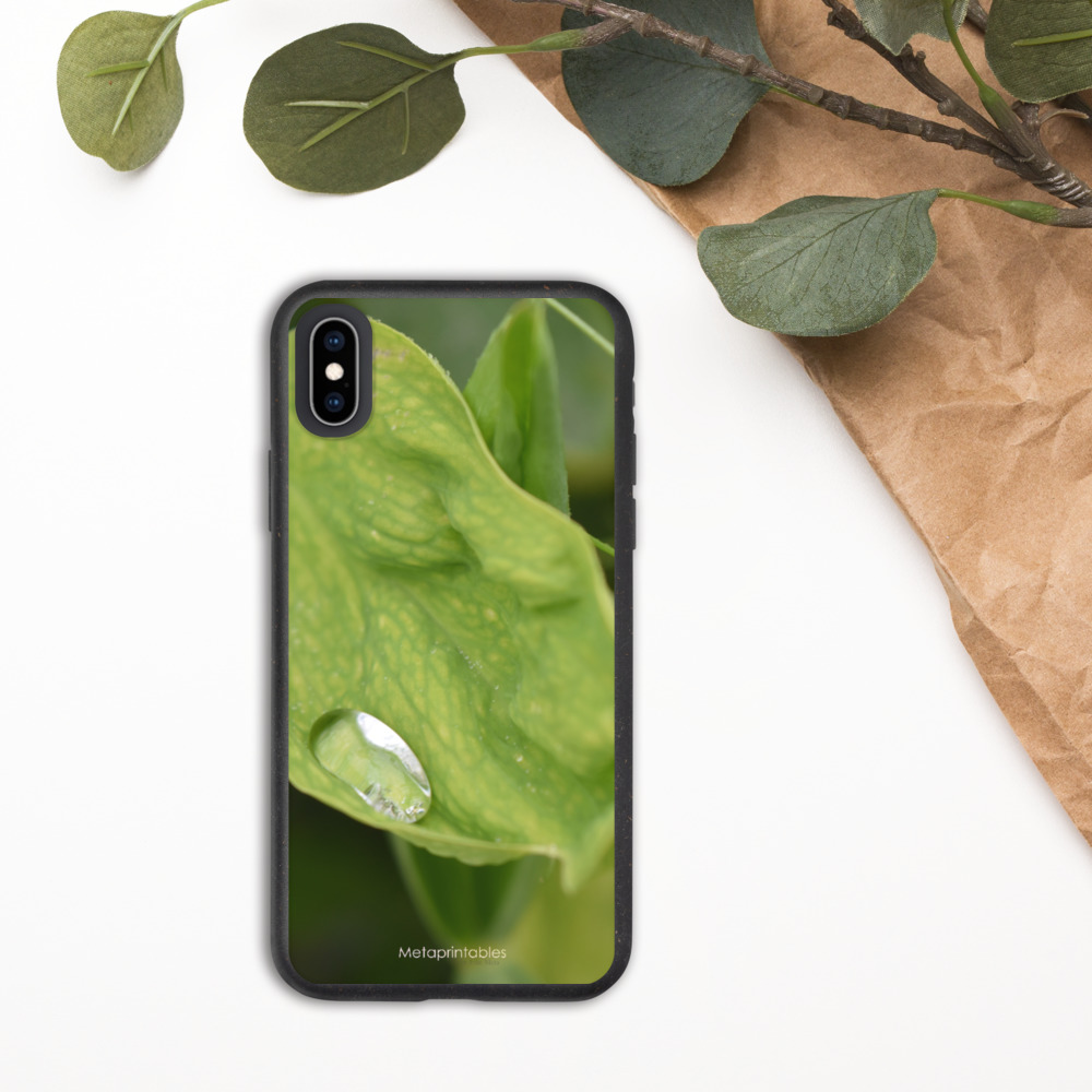 biodegradable case for iPhone with raindrop on leaf print