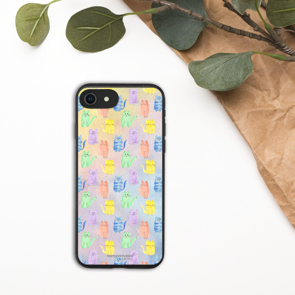 biodegradable phone case for iphone with multi coloured cats