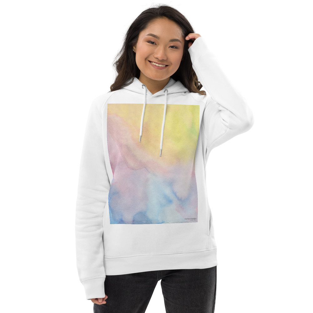 unisex eco hoodie with pastel shades watercolor print on the front