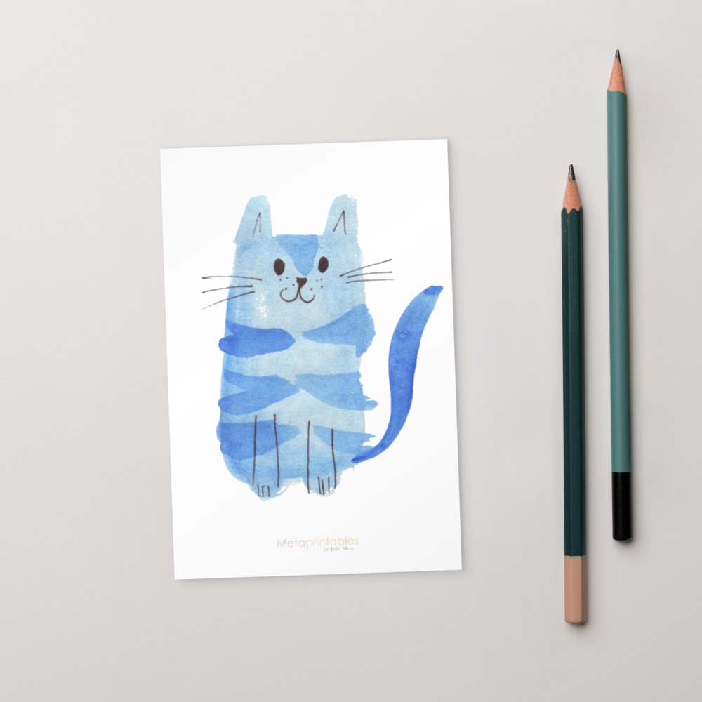 cute high quality postcard with blue cat and Metaprintables by Julie Meta logo