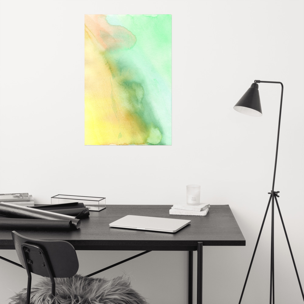 green pastel shades watercolor art print on wall