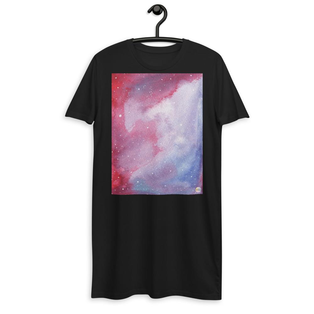 organic cotton t-shirt dress with galaxy design
