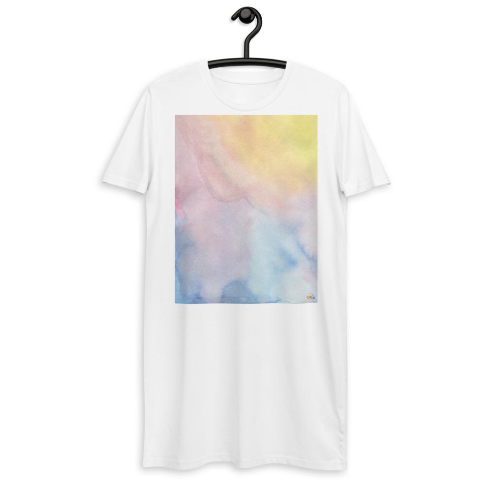 organic cotton t-shirt dress with pastel color design